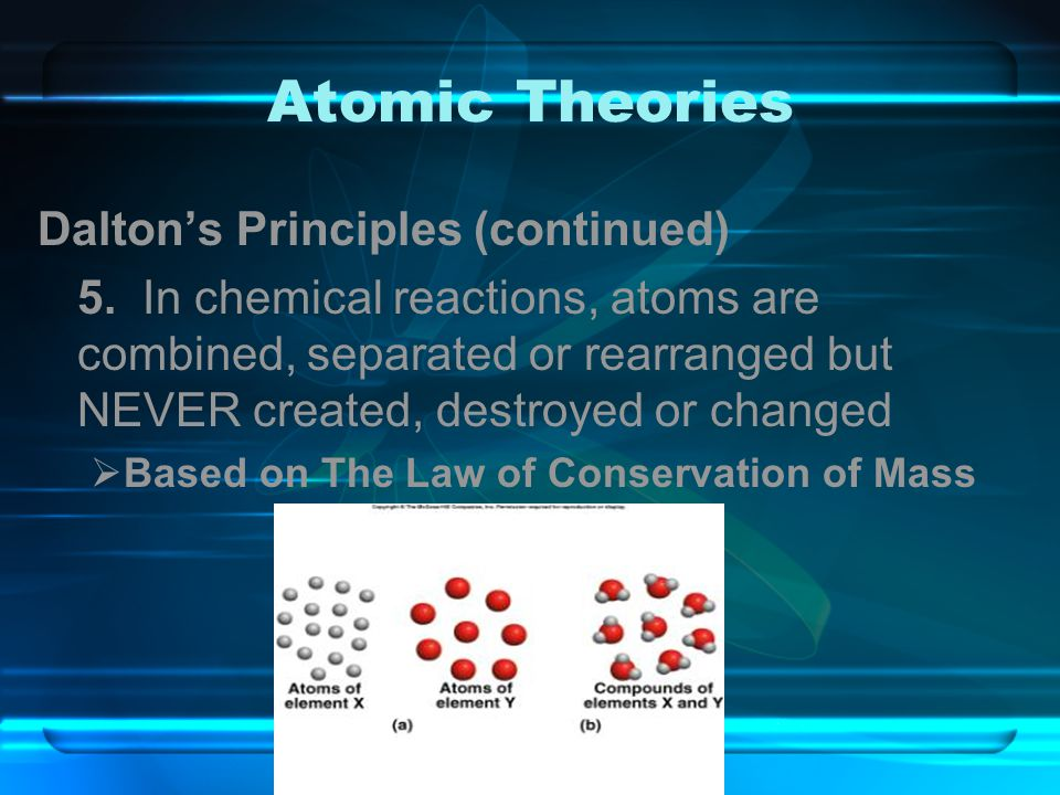 Atomic Theories Dalton's Principles (continued)