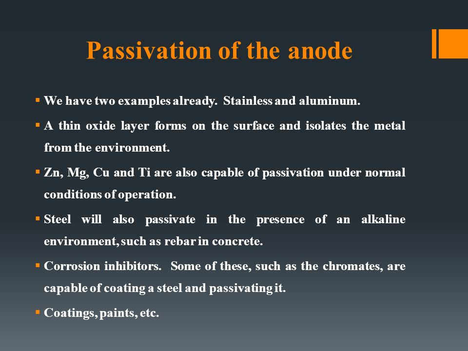 Passivation of the anode