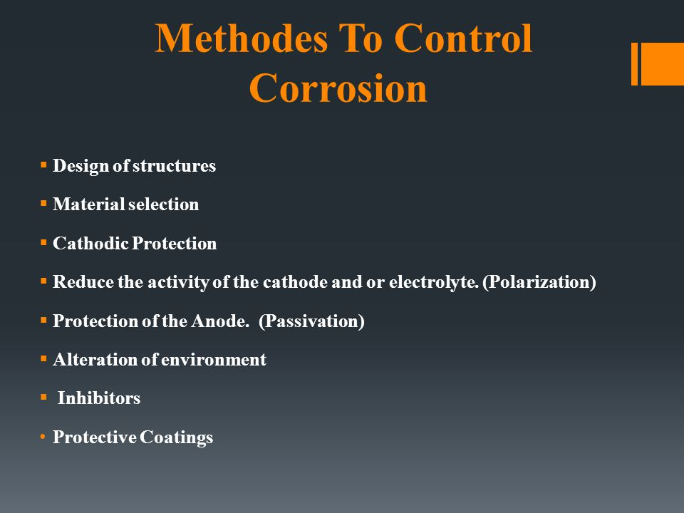Methodes To Control Corrosion