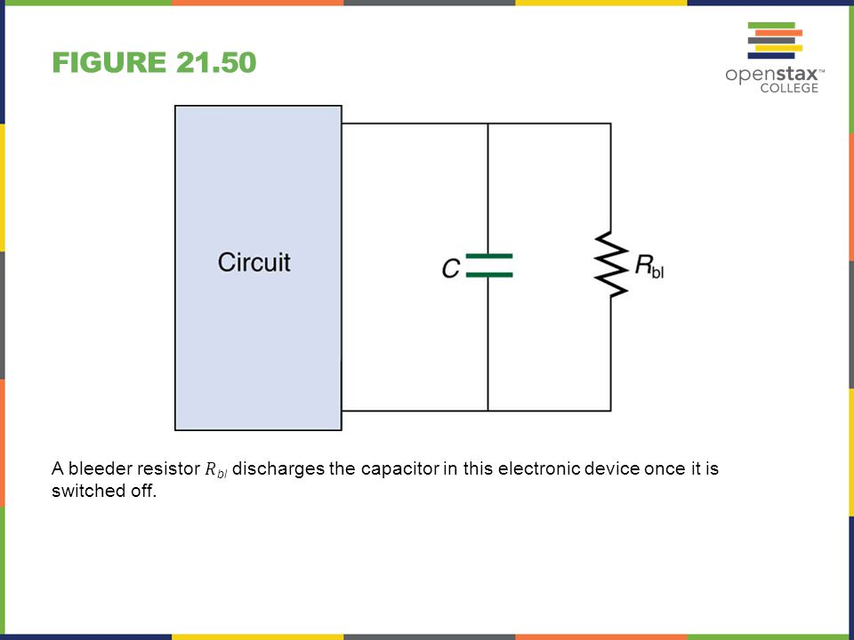 Figure 21.50 A bleeder resistor 𝑅bl discharges the capacitor in this electronic device once it is switched off.