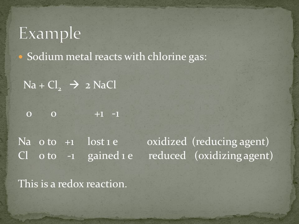 Example Sodium metal reacts with chlorine gas: Na + Cl2  2 NaCl