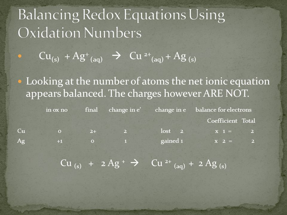 Balancing Redox Equations Using Oxidation Numbers