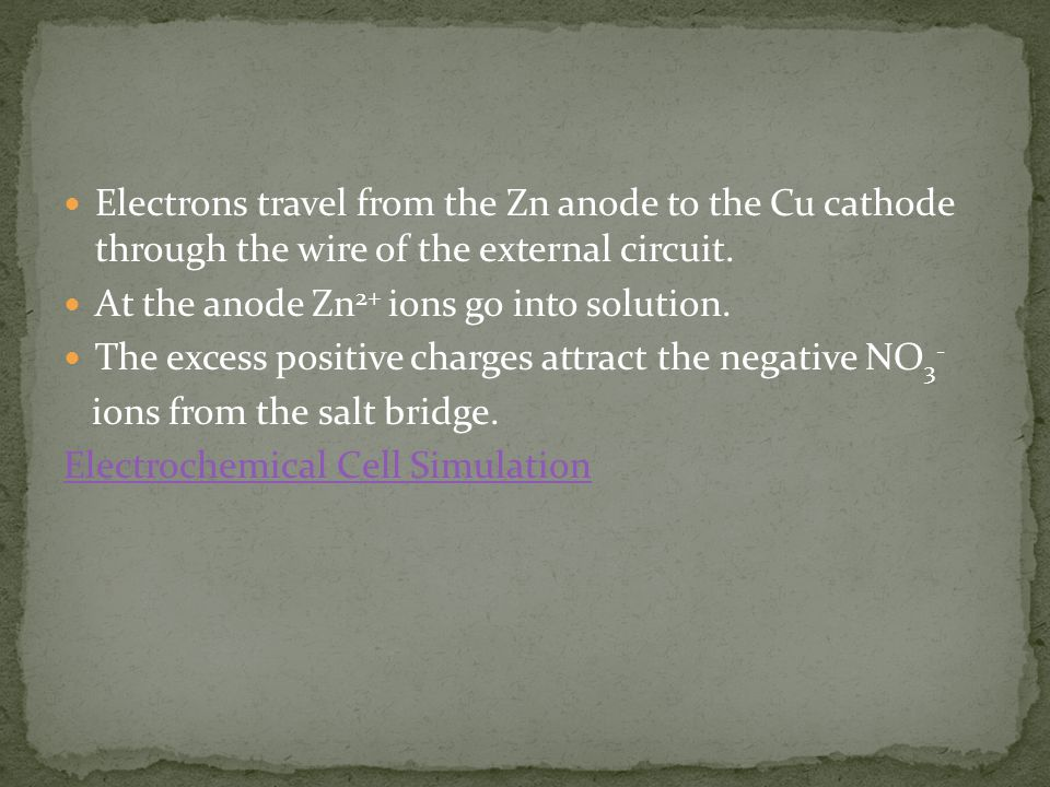 Electrons travel from the Zn anode to the Cu cathode through the wire of the external circuit.
