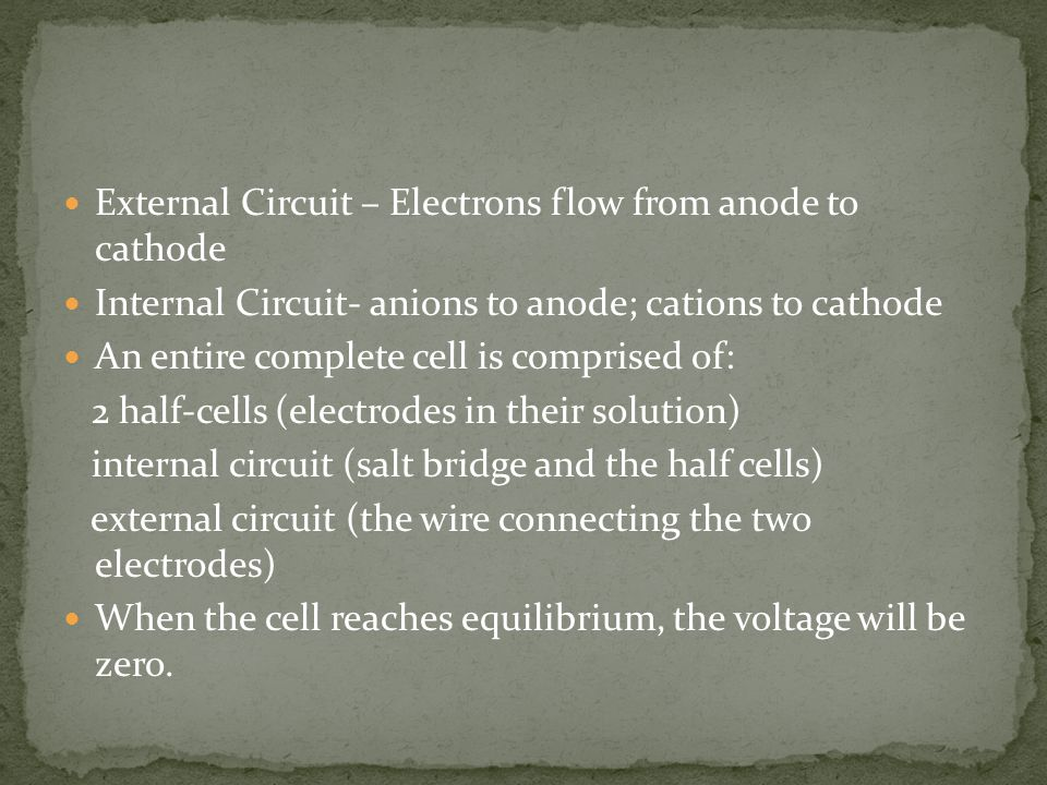 External Circuit – Electrons flow from anode to cathode