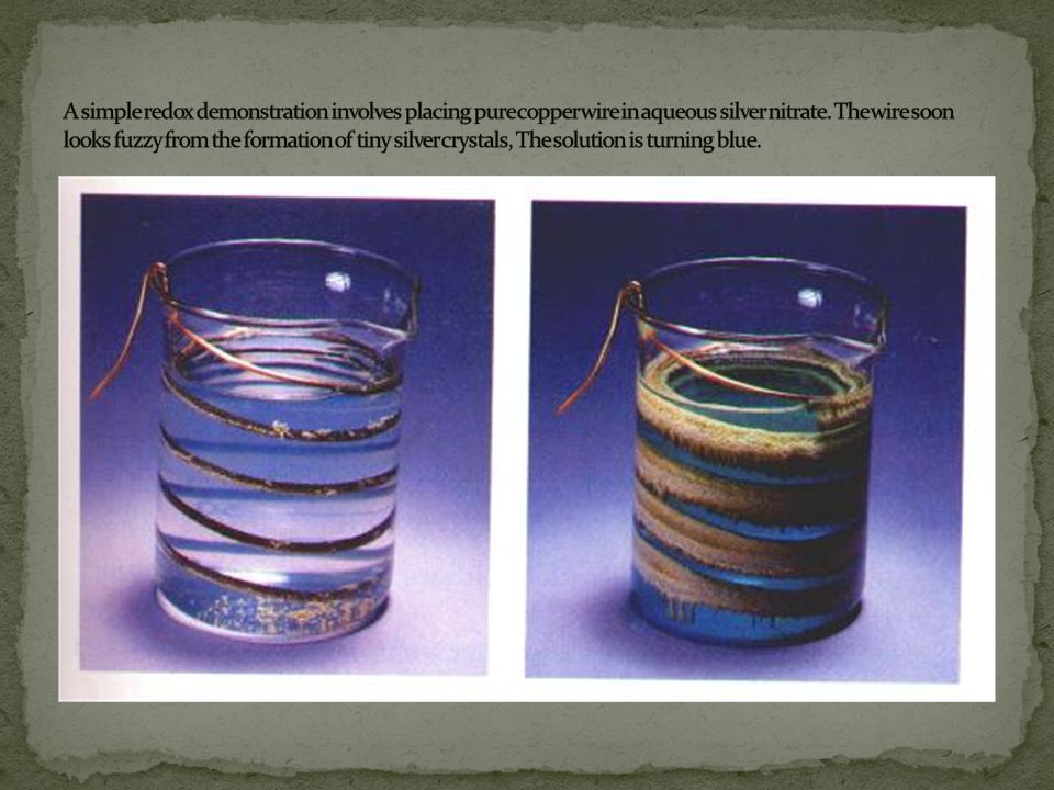 A simple redox demonstration involves placing pure copper wire in aqueous silver nitrate.