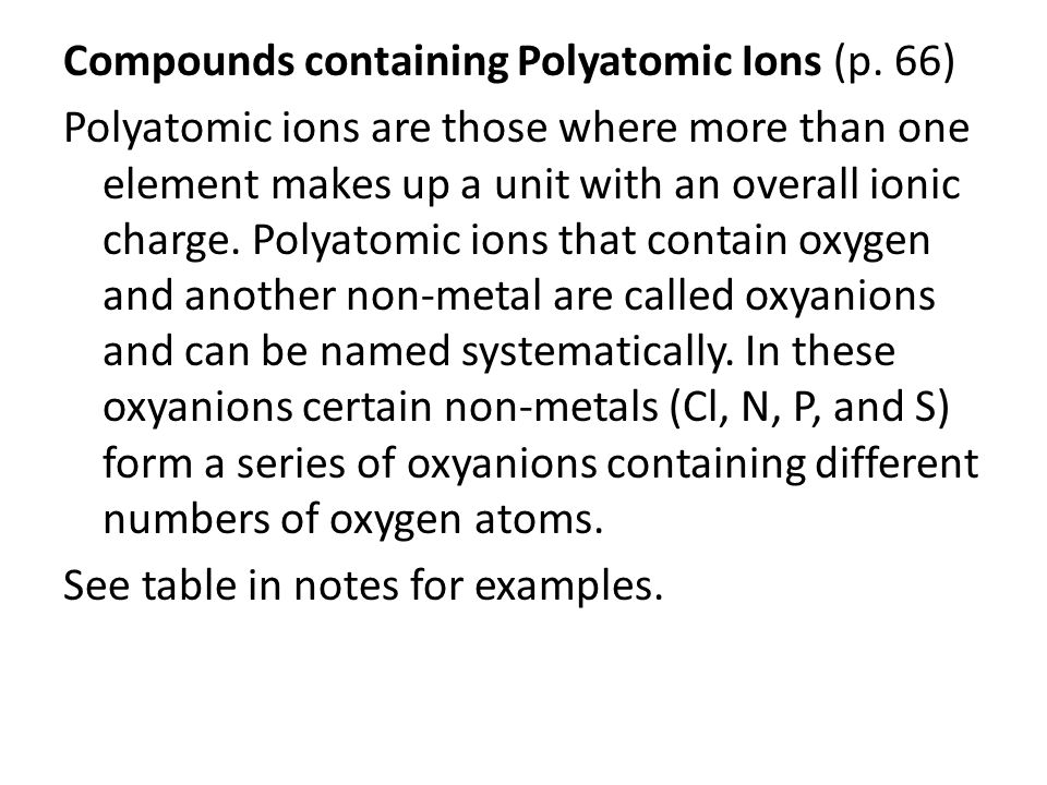 Compounds containing Polyatomic Ions (p