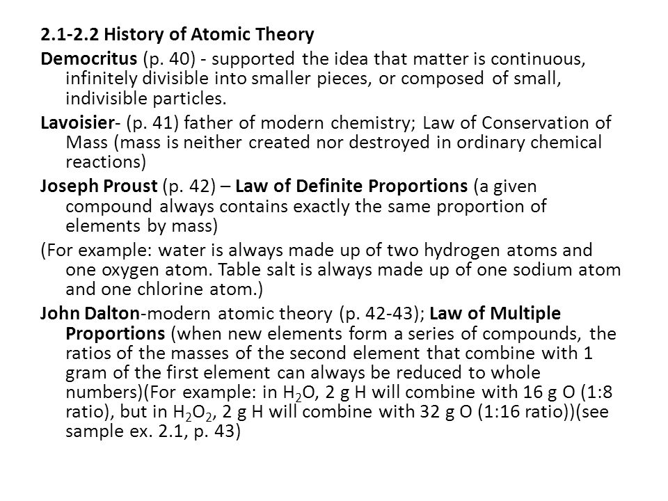 2.1-2.2 History of Atomic Theory