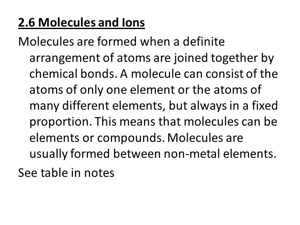 2.6 Molecules and Ions