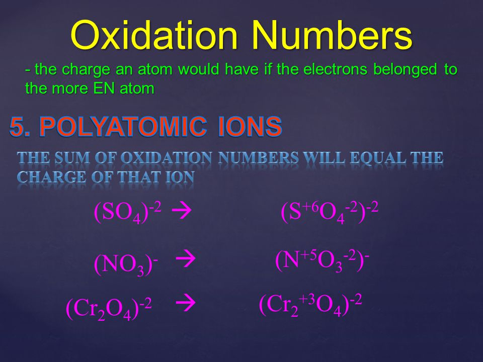 Oxidation Numbers 5. POLYATOMIC IONS (SO4)-2  (S+6O4-2)-2 