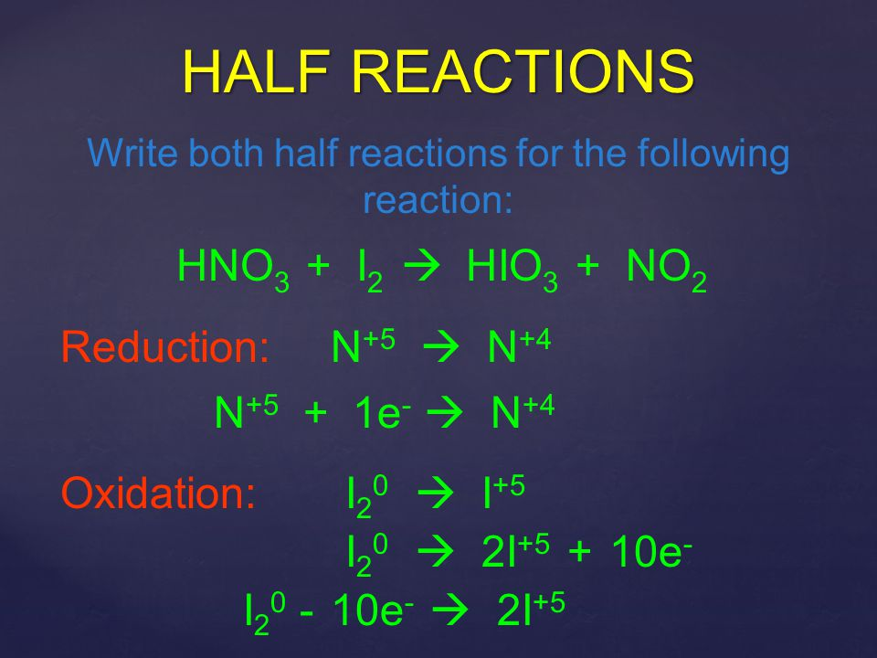 Write both half reactions for the following reaction:
