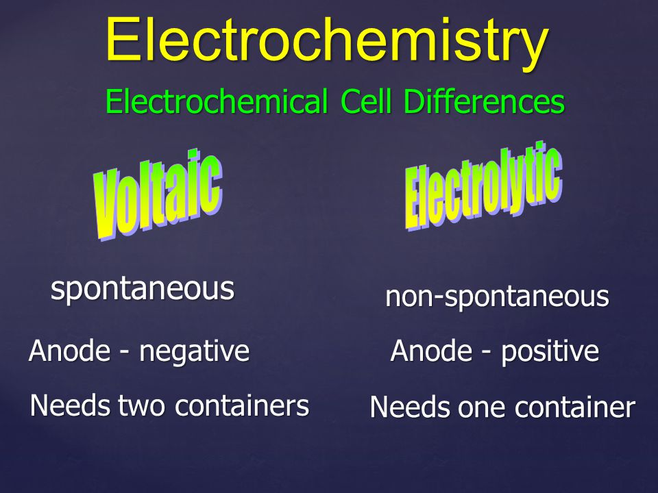 Electrochemical Cell Differences