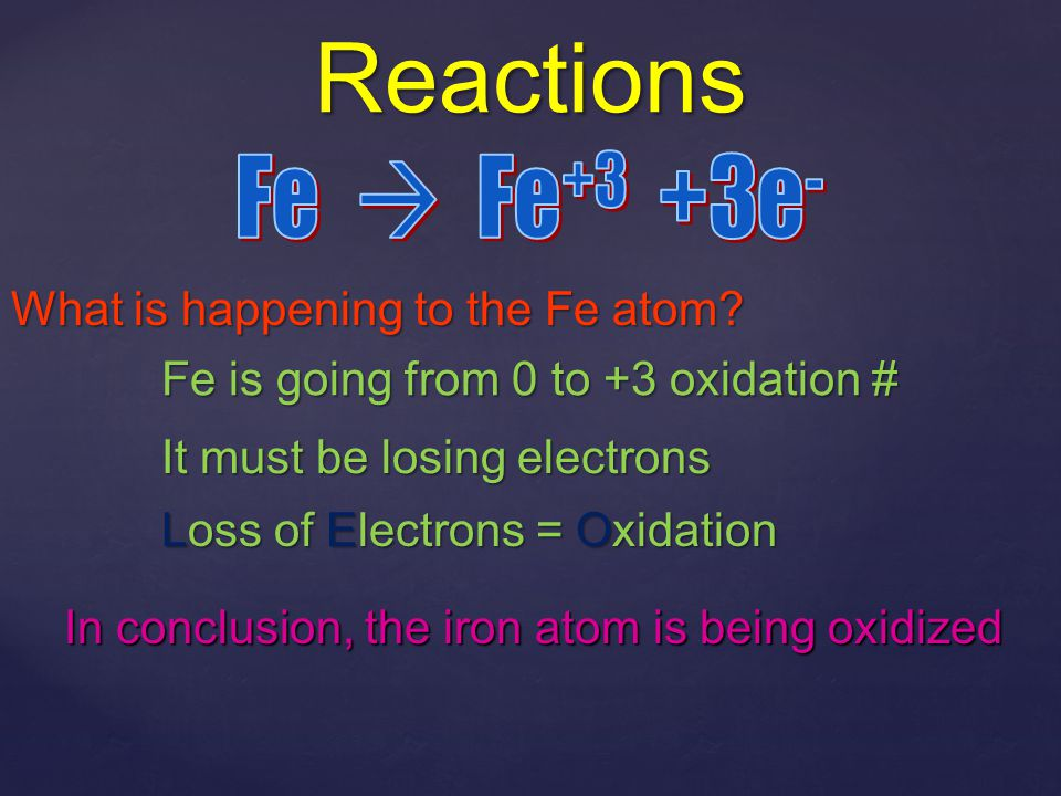 Reactions Fe  Fe+3 +3e- What is happening to the Fe atom