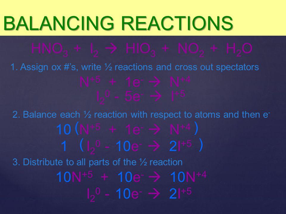 BALANCING REACTIONS HNO3 + I2  HIO3 + NO2 + H2O N+5 + 1e-  N+4