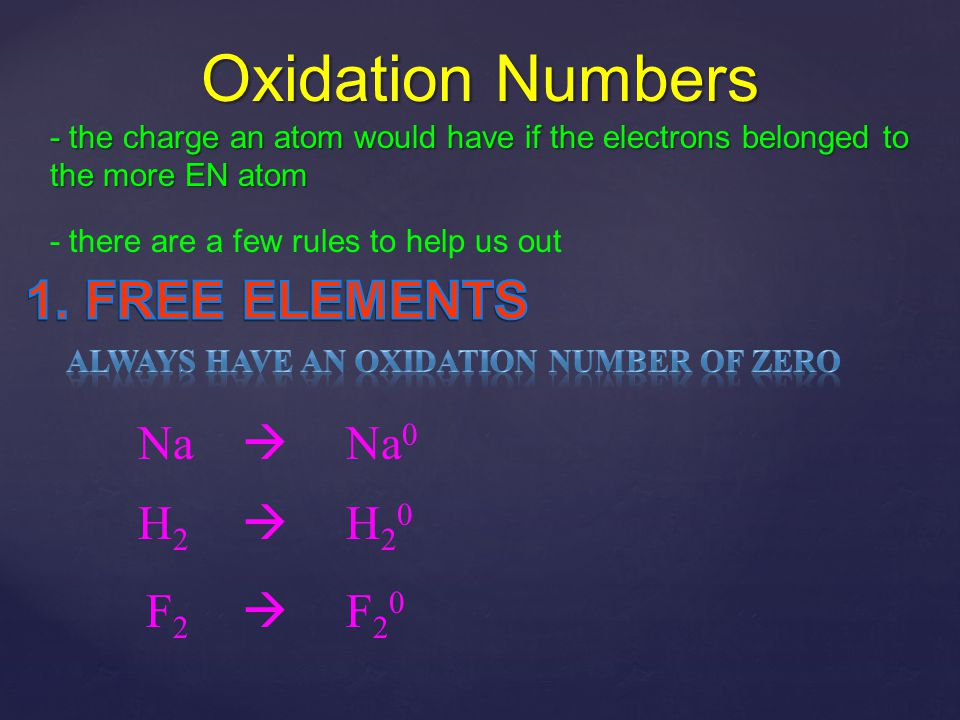 Oxidation Numbers 1. FREE ELEMENTS Na  Na0 H2  H20 F2  F20