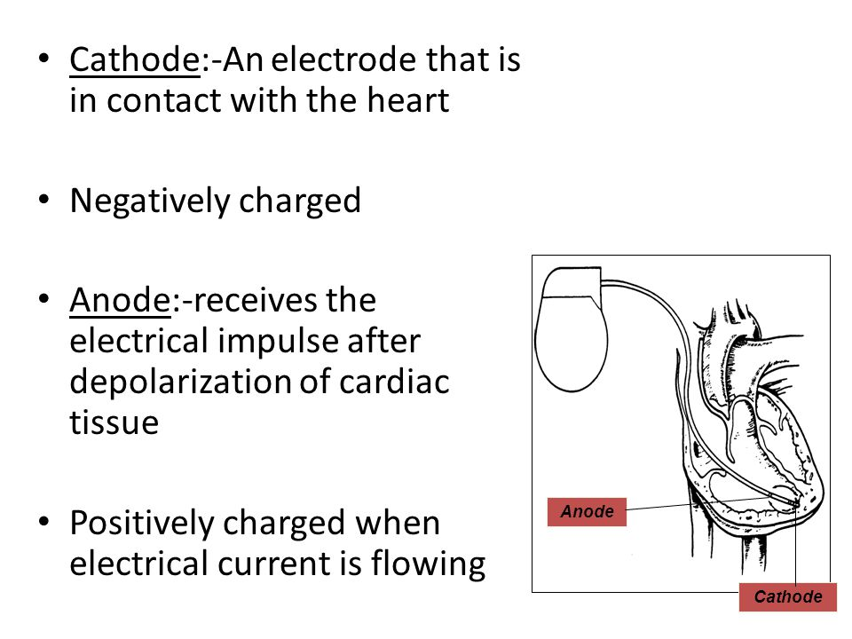 Cathode:-An electrode that is in contact with the heart