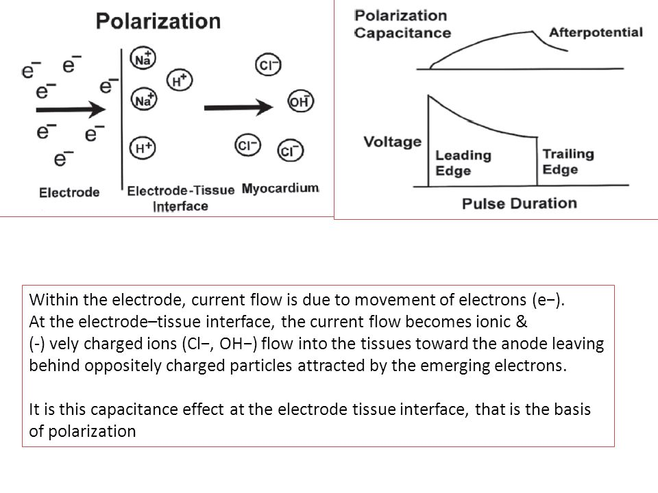 Within the electrode, current flow is due to movement of electrons (e−).