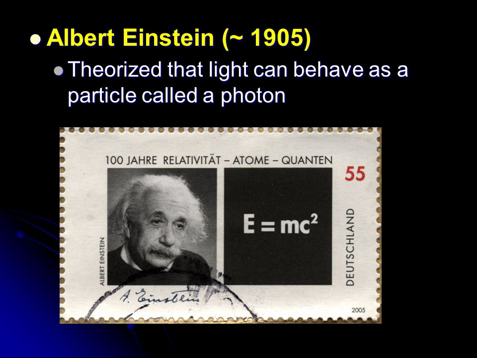Albert Einstein (~ 1905) Theorized that light can behave as a particle called a photon