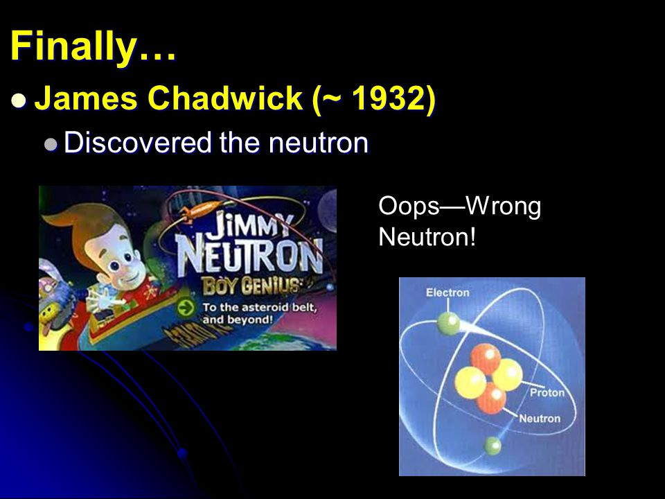 Finally… James Chadwick (~ 1932) Discovered the neutron