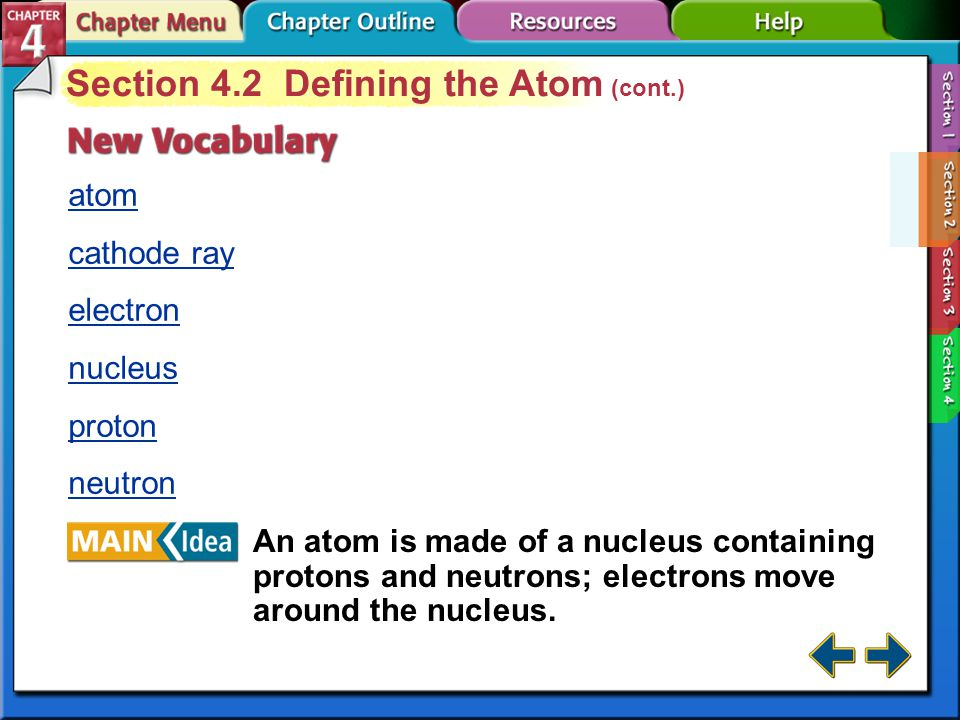 Section 4.2 Defining the Atom (cont.)