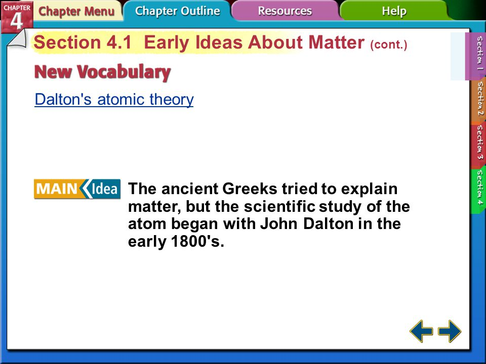 Section 4.1 Early Ideas About Matter (cont.)