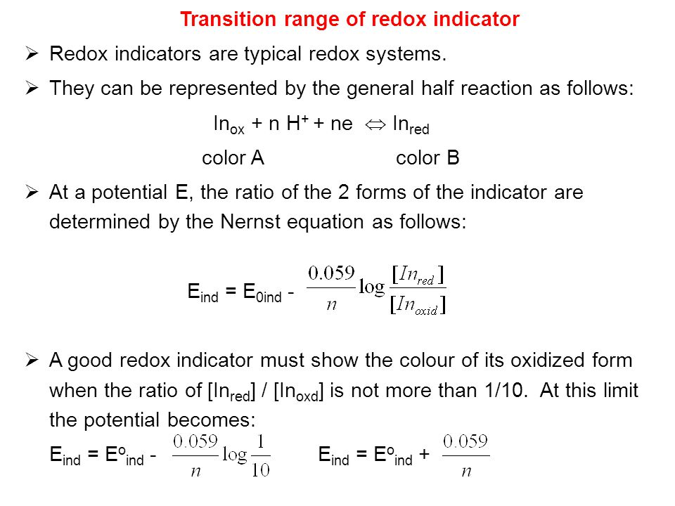 Transition range of redox indicator