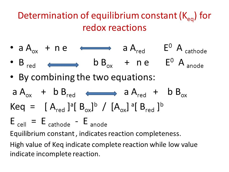 Determination of equilibrium constant (Keq) for redox reactions