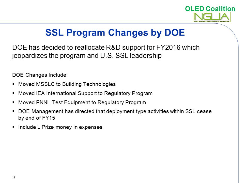 SSL Program Changes by DOE