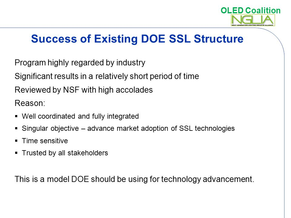 Success of Existing DOE SSL Structure