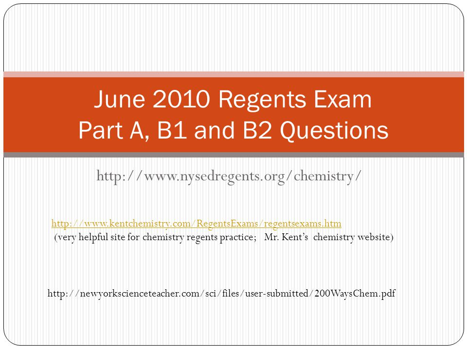 June 2010 Regents Exam Part A, B1 and B2 Questions