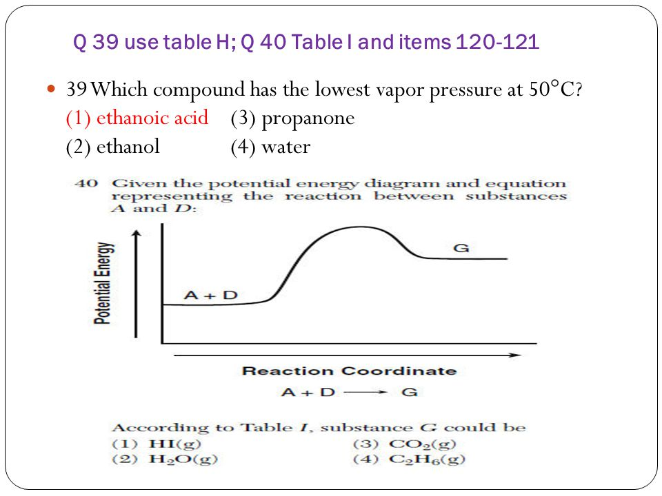 Q 39 use table H; Q 40 Table I and items 120-121