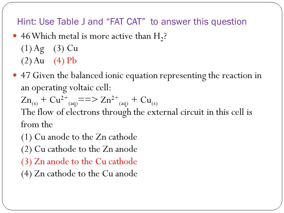 Hint: Use Table J and FAT CAT to answer this question