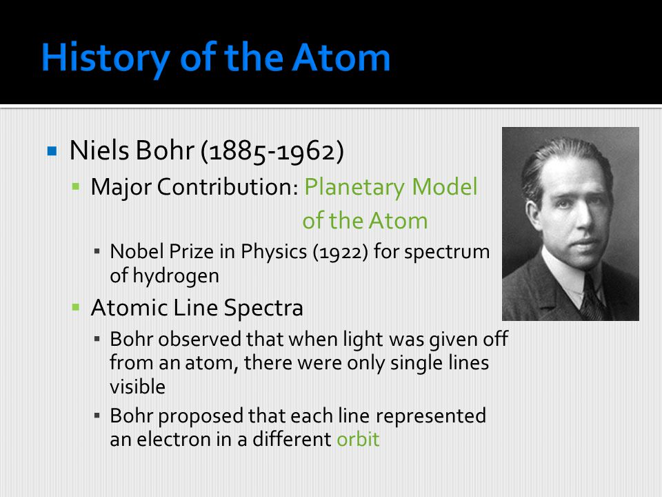 History of the Atom Niels Bohr (1885-1962)