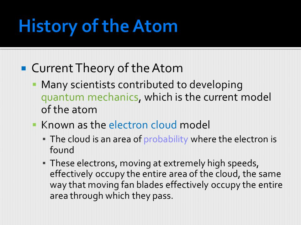 History of the Atom Current Theory of the Atom