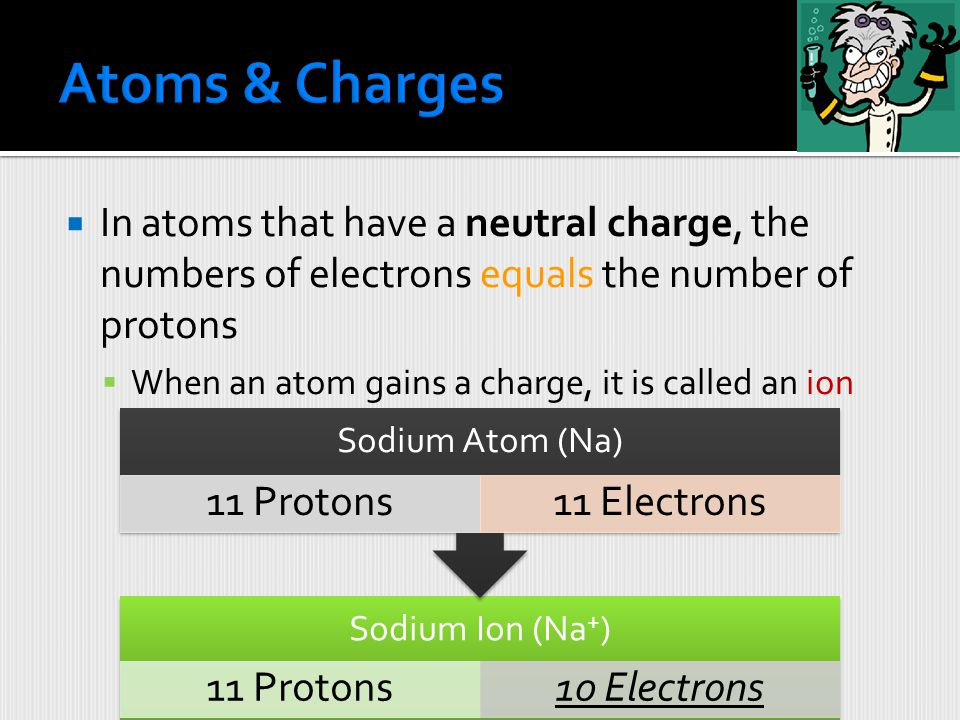 Atoms & Charges In atoms that have a neutral charge, the numbers of electrons equals the number of protons.