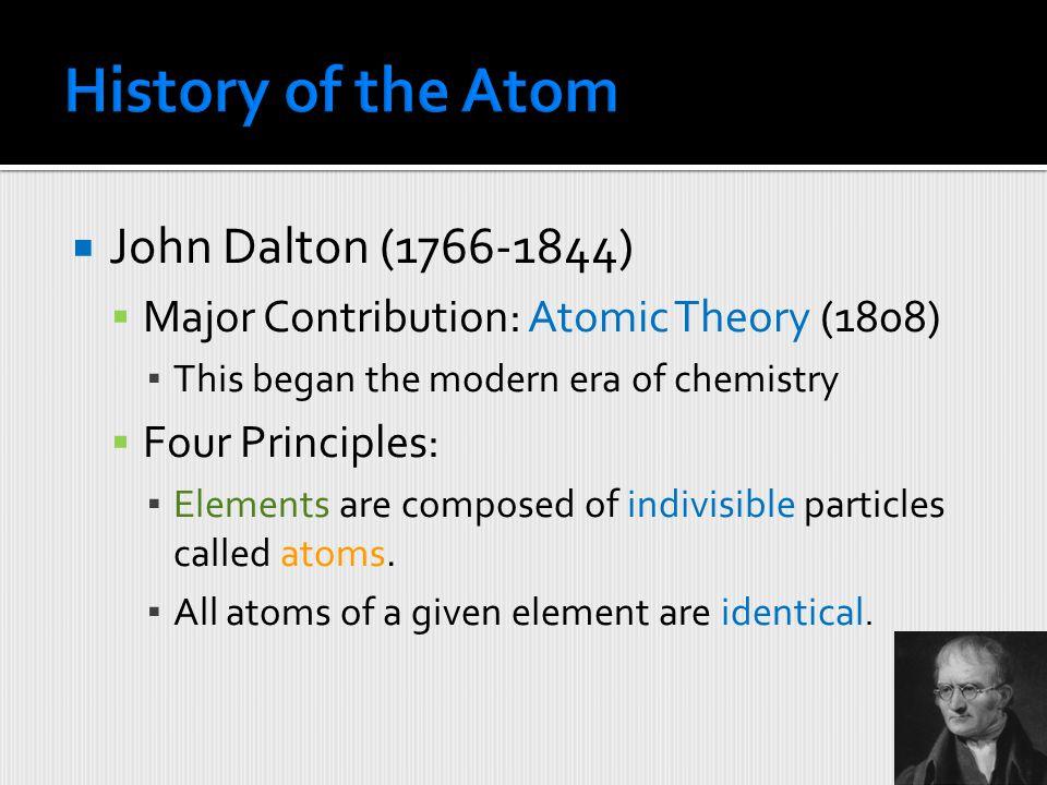 History of the Atom John Dalton (1766-1844)