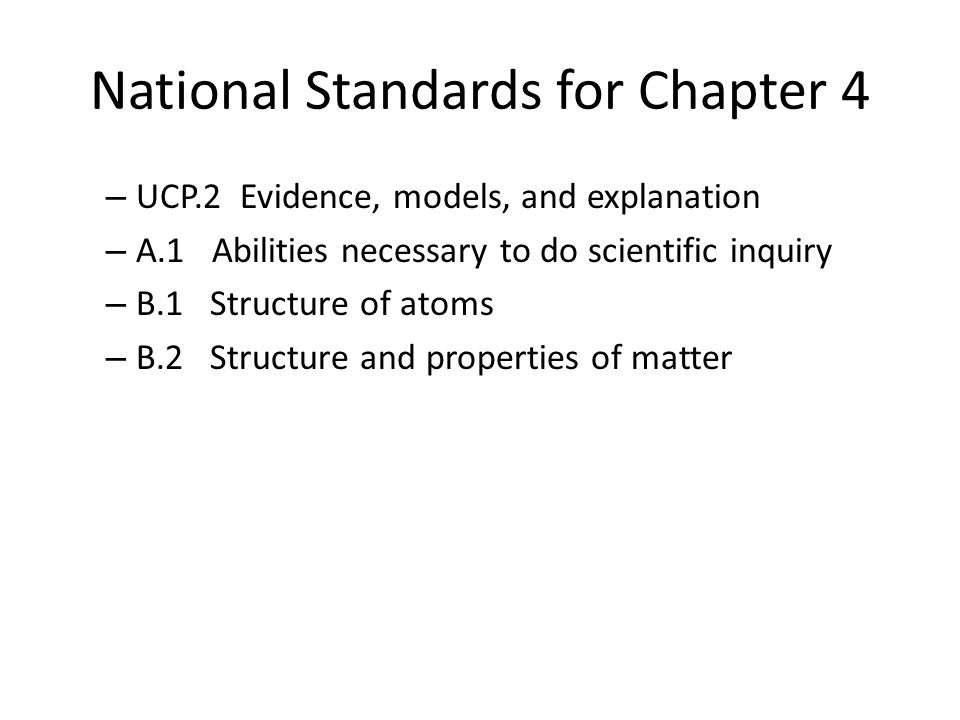 National Standards for Chapter 4