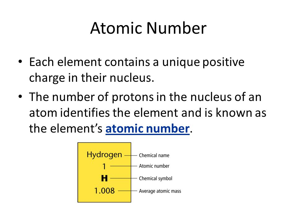 Atomic Number Each element contains a unique positive charge in their nucleus.