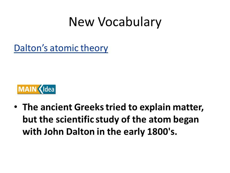 New Vocabulary Dalton's atomic theory