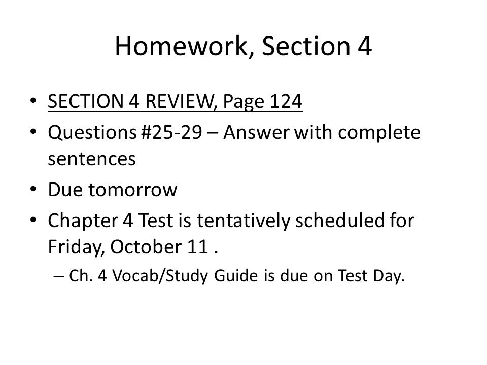Homework, Section 4 SECTION 4 REVIEW, Page 124
