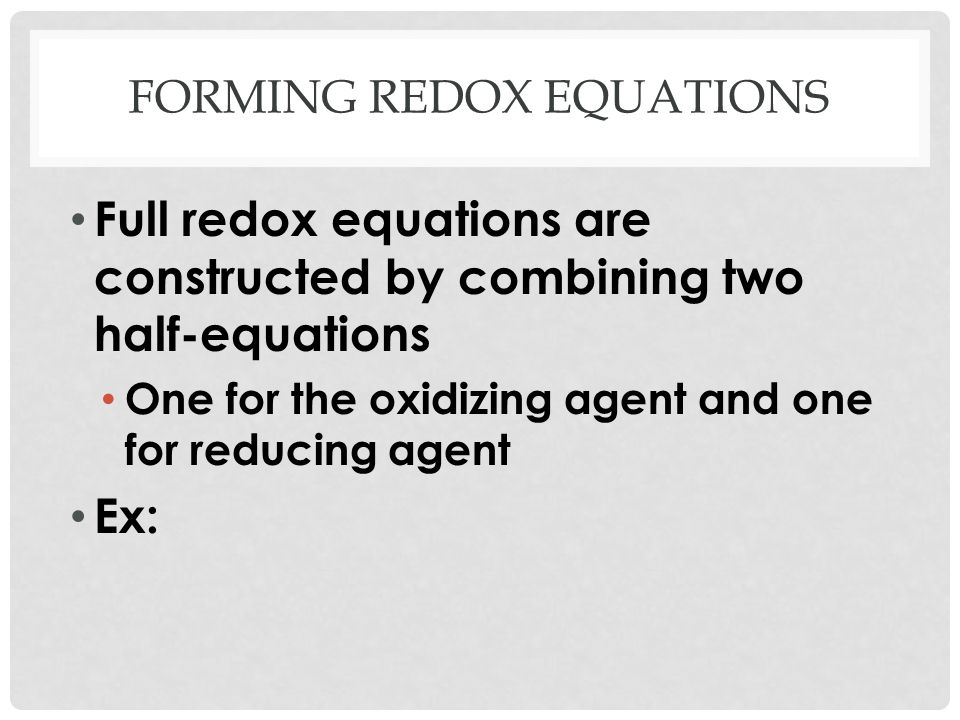 Forming redox equations