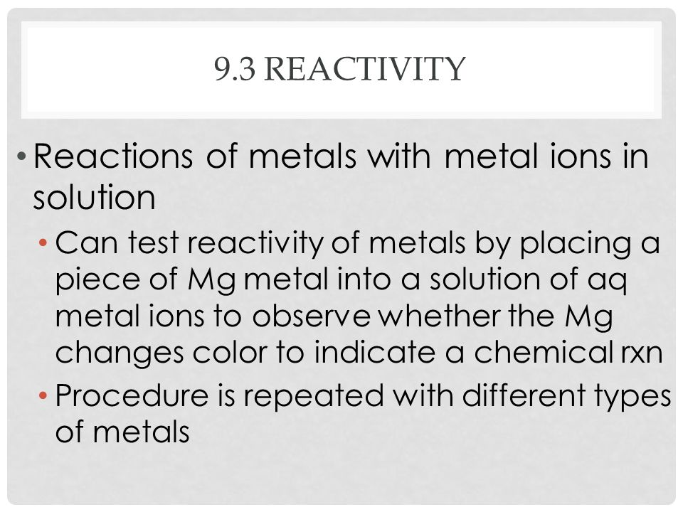 Reactions of metals with metal ions in solution