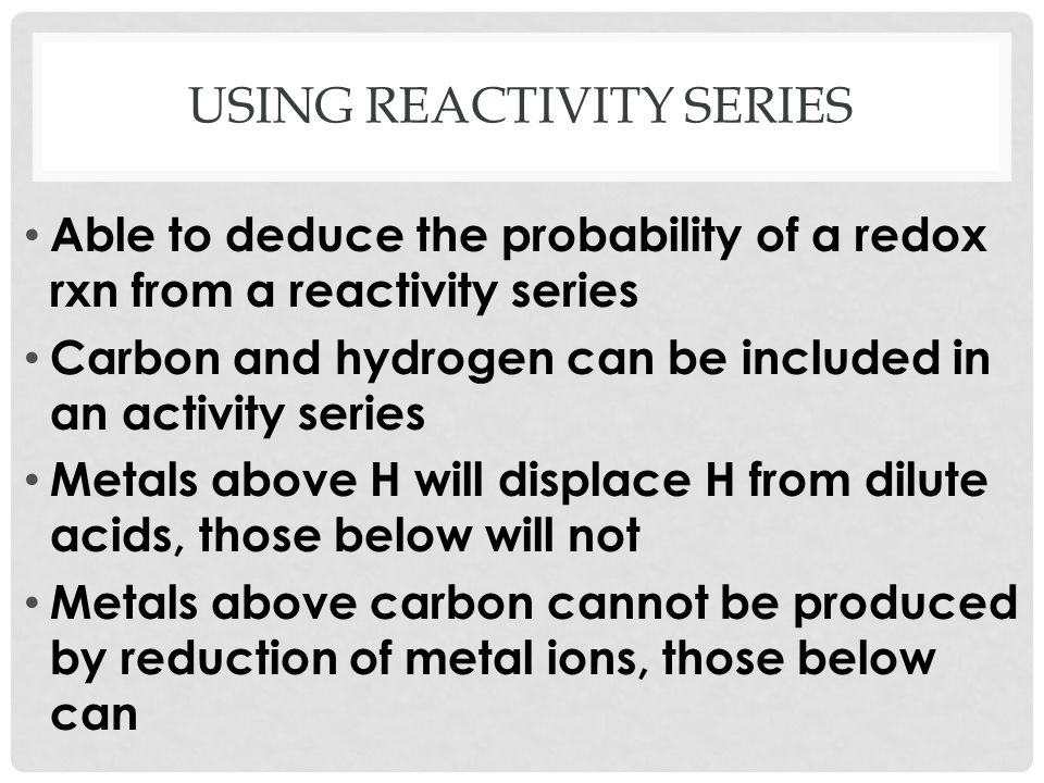 Using reactivity series