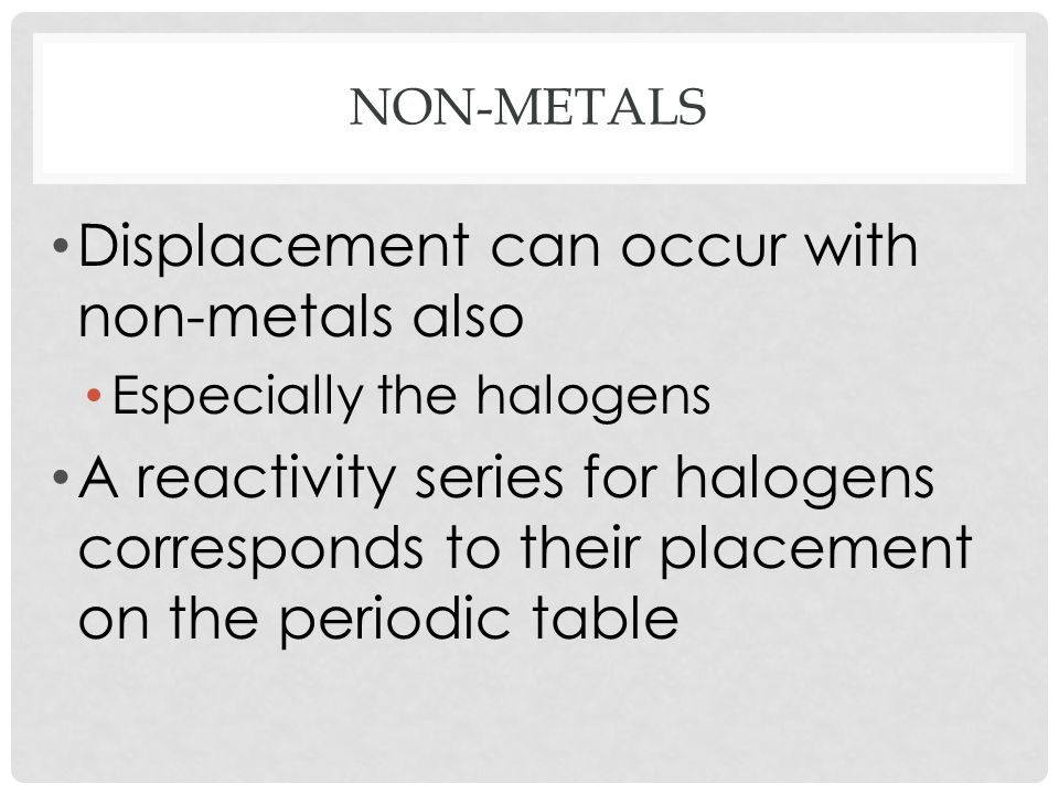 Displacement can occur with non-metals also