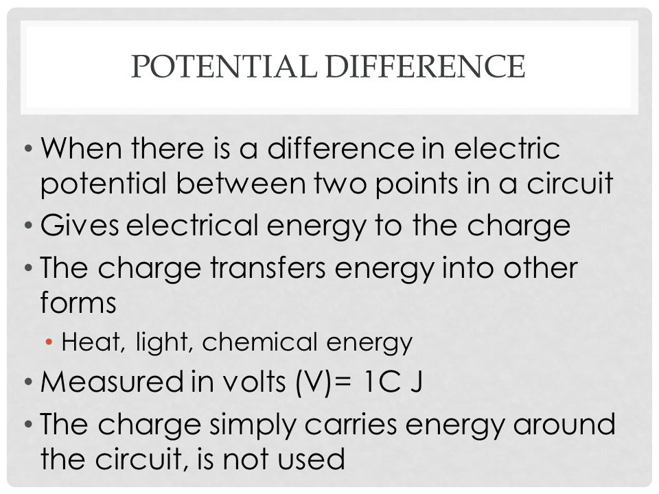 Potential difference When there is a difference in electric potential between two points in a circuit.