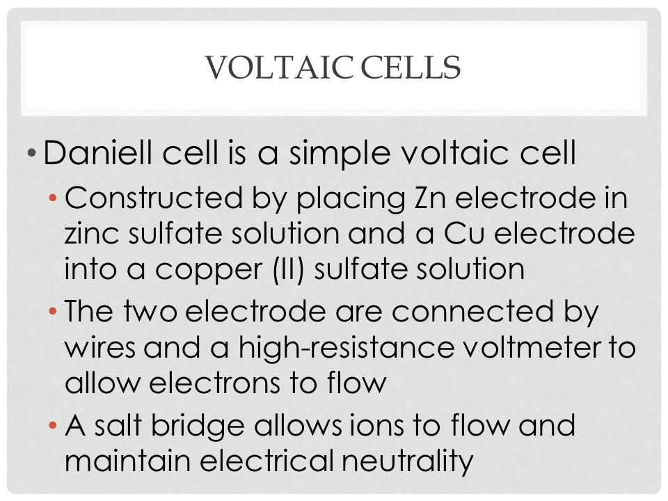 Daniell cell is a simple voltaic cell