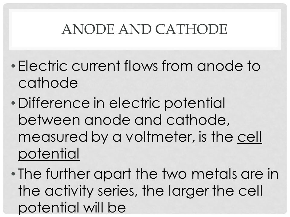 Anode and cathode Electric current flows from anode to cathode.