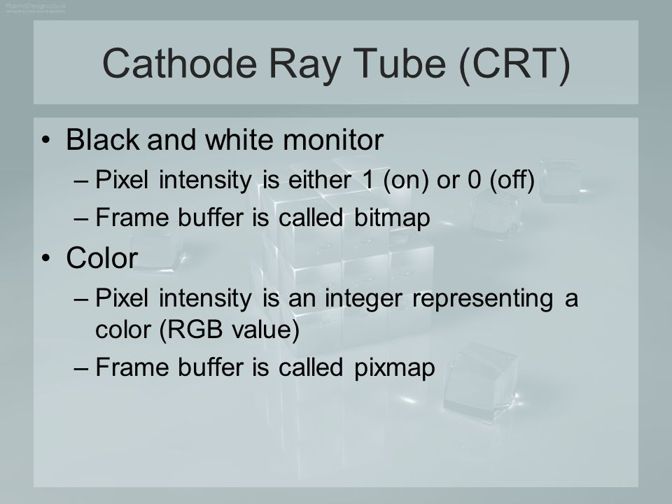 Cathode Ray Tube (CRT) Black and white monitor Color