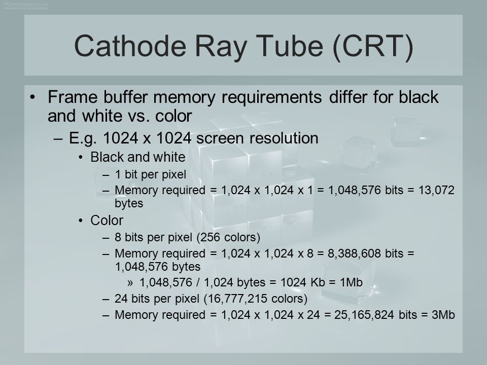 Cathode Ray Tube (CRT) Frame buffer memory requirements differ for black and white vs. color. E.g. 1024 x 1024 screen resolution.