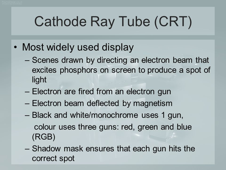 Cathode Ray Tube (CRT) Most widely used display