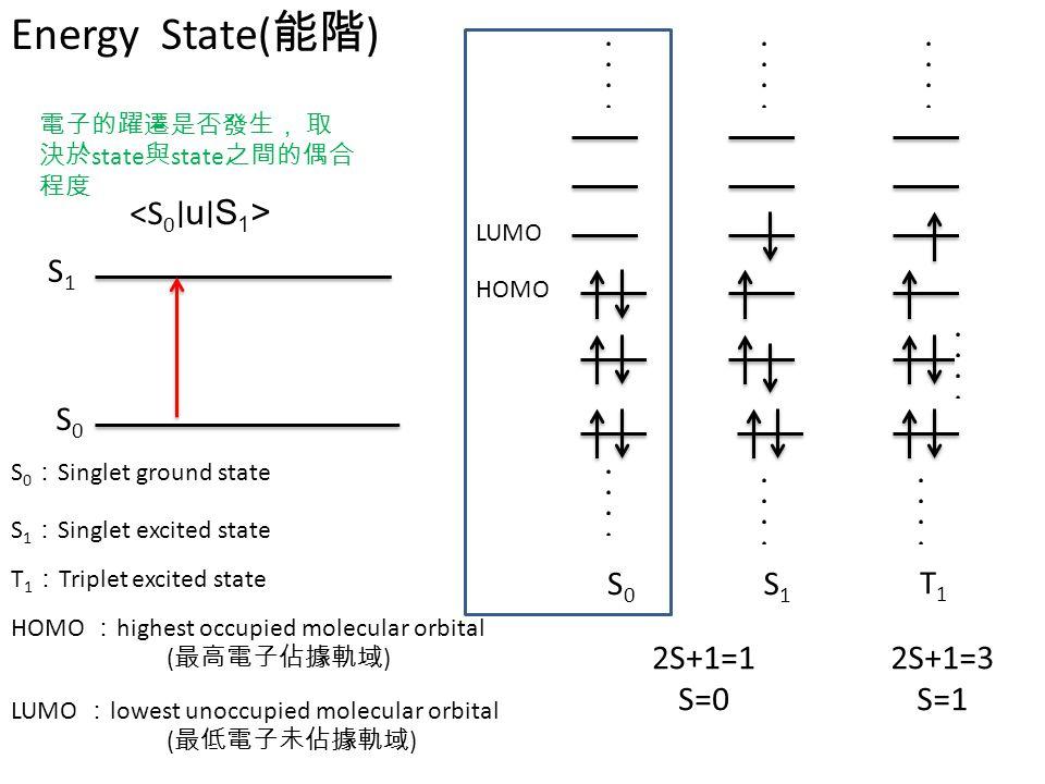 Energy State(能階) <S0∣u∣S1> S1 S0 S0 S1 2S+1=1 S=0 2S+1=3 S=1 T1